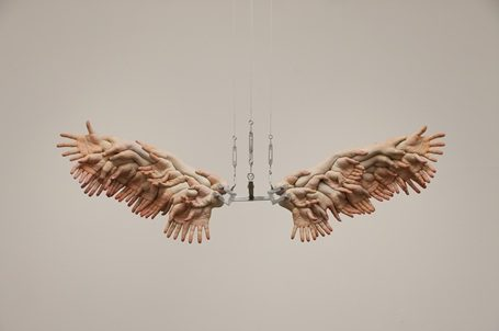 Choi Xooang,The Wings, 2009, oil on resin, stainless steel, 172x48x56cm