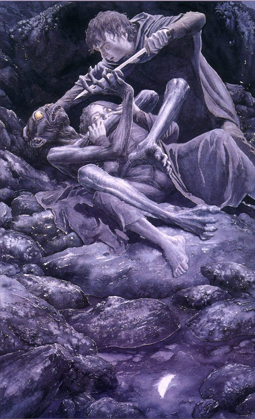 Alan Lee, The Taming of Smeagol, acquarello
