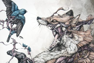"Lauren Marx, ""Red Fox and Indigo Bunting"", Ballpoint Pen and Ink, 18in x 24in, 2012"